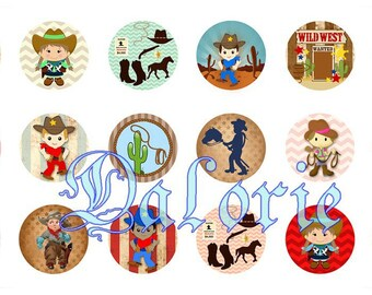 25 mm, Western, Collage, Board of Digital Images - for round cabochons