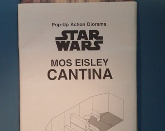 """Vintage 1997 Star Wars Mos Eisley CANTINA 3-D Pop Up!  Mailaway Exclusive!  Fits 3 3/4"""" Figures!  MINT!  Never Assembled!"""