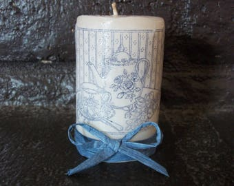 Tea Time Candle//Gift for mom//Hostess Gift//Pillar Candle//Unscented Candles//Unscented Pillar Candles//Mother's Day //Gifts for Her