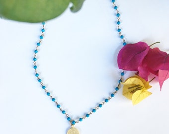 Turquoise Rosary Chain Necklace with Gold Coin Pendant