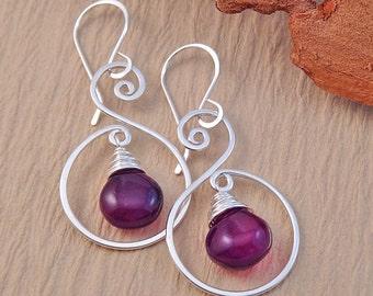 Purple Dangle Earrings - Chalcedony Spiral Earrings - Silver Drop Earrings
