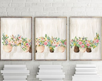 Set of 3 wall art, Set of 3 prints, Watercolor flower print,  Watercolor art, Home decor, Printable set, Set of three prints, 3 piece, 1080
