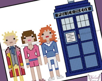 Doctor Who themed Sixth Doctor and companions cross stitch pattern - PDF pattern - INSTANT DOWNLOAD