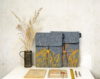 Wild Plant iPad sleeve, eco friendly iPad Air Felt Case screenprinted, Golden Yellow Meadow on light Grey Tablet vegan Cover silkscreen