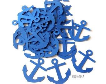 50  Blue Large Anchor Cut outs, Die cut, Confetti, Embellishments or CHOOSE YOUR COLORS - Set of 50 pcs