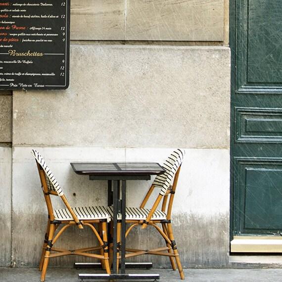 """Paris Photography, Fine Art Photography, Paris Cafe, Ivory, teal, green, romantic, """"Meet Me In Paris"""", 5x5 fine art photography print"""