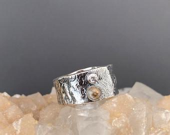 Sterling Silver CZ & Copper Calcite Ring - Copper Calcite Ring - Copper Calcite and CZ - Silver Statement Ring - Silver Copper Calcite Ring