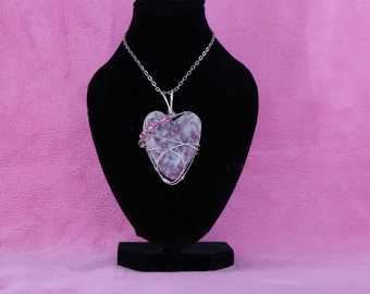 Womans Pendant, Wire Wrapped jewelry - heart jewelry - girls jewelry -Lepidolite Pendant-gifts for her-by RocktoGemJewelry