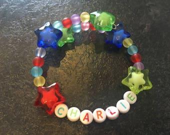 Personalised kids memory wire bracelet