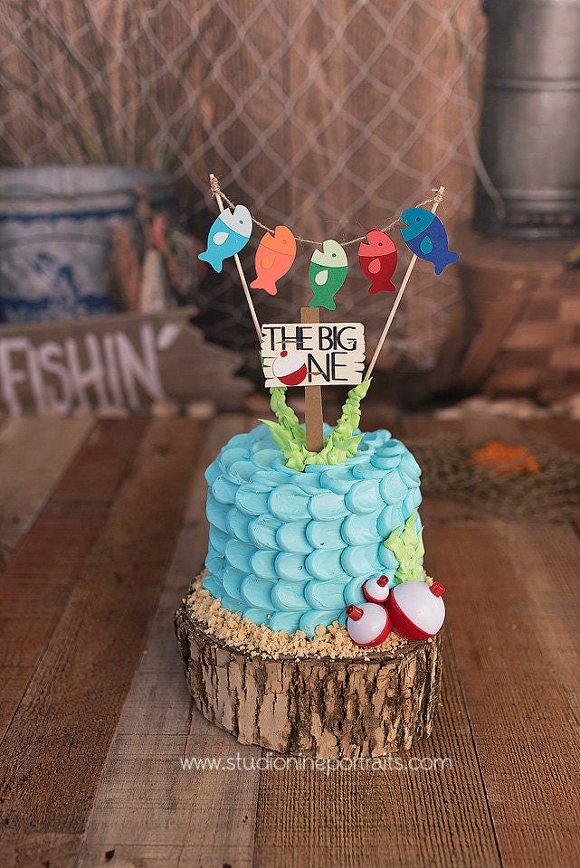 Fishing First Birthday Cake Topper Gone Fishing Topper The