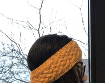Hand knit golden yellow cabled headband