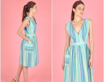 1960s Multicolor Striped Cotton dress | vintage 1960s dress | textured cotton blue multicolor striped 60s dress