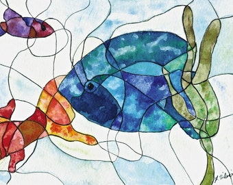 Fish Tank Stained Glass painting