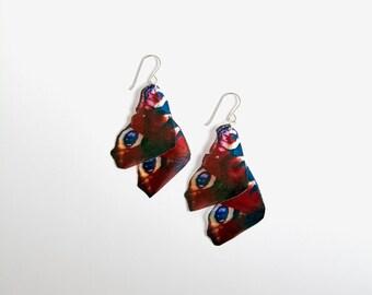 Peacock Butterfly Earrings, Butterfly Wing Earrings, Sterling Silver, Large Dangle Earrings, Festival Wear, British Butterflies, Wildlife