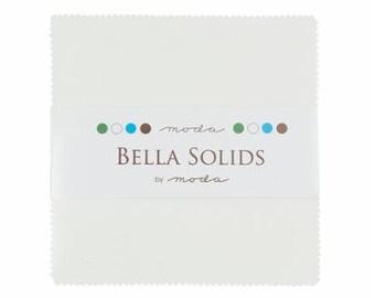 "Bella Solids Charm Squares - White 42 - 5"" Squares"