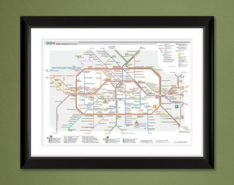 2014 Berlin UBahn – Subway Map (16x12 Heavyweight Art Print)