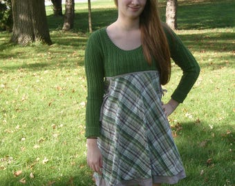 refashioned sweater dress, upcycled, repurposed, eco friendly clothing