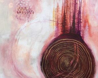 Blush Pine Tree Ring Print Poster 11x17