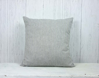 Ticking Stripe, Farmhouse Pillow, Ticking Pillow, French Ticking, French Country, Organic Cotton, Black and White, Custom Made