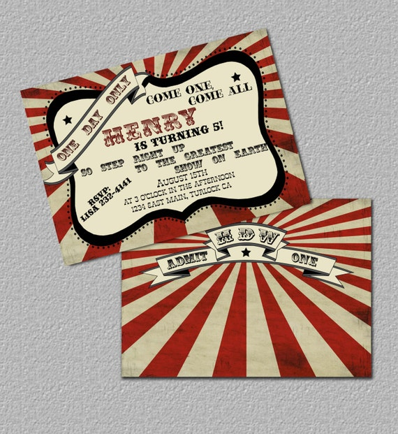 Items Similar To Printable Vintage Carnival Invitation Or