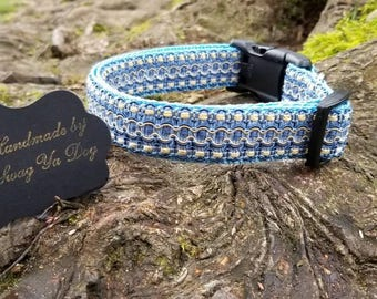 Blue dog collar, fancy dog collar, dog collar, adjustable dog collar, cute dog collar, medium dog collar, large dog collar,