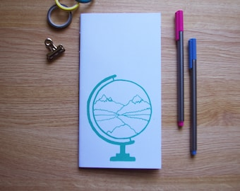Screen Printed Globe and Mountain Design Handmade Notebook - Blank Pages - 110x210mm - Blank Pages