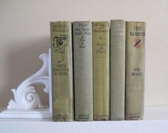 Decorative Books Set, Book Bundle, Farmhouse Books, Green Decor, Distressed Books, Rustic Stack of Books, Faded Green Books, Green Books