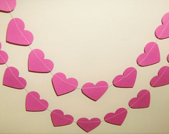 Hearts Pink Garland, Pink Garland, Baby Shower, Happy Birthday, Bridal Shower, Wedding, Party Decor,