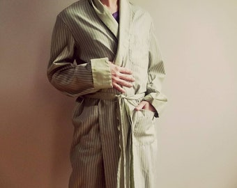 Vintage 1960's 60s Men's Towncraft Par Excellence Pinstripe Robe Matching Belt Avocado Green - Pockets Penny's