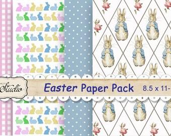 Easter Rabbit Digital Paper Pack, printable scrapbook paper, Bunnies, Peter Rabbit, checks polka dots paper, scrapbook clip-art, background