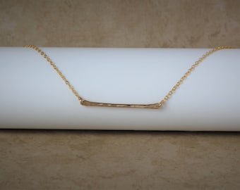 Skinny Bar Necklace, Thin Hammered Necklace, Dainty Layering Jewelry, Sterling Silver Gold Filled