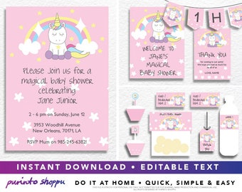 Unicorn Baby Shower It's a Girl Party Printables / Invitation - INSTANT DOWNLOAD - Fully EDITABLE text