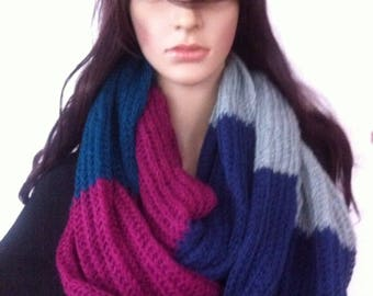 multi colors Infinity scarf , chunky infinity scarf / hand made knit infinity scarf, accessories, ,Infinity Scarves