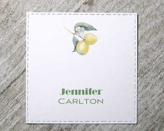 Lemon branch Personalized Enclosure Cards - Gift Enclosure Card - Calling Cards - Set of 24 - Trending - Flat - One sided - Embossed