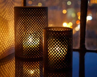 Pierced Metal Candleholder - BULK available for Restaurants - Weddings - Parties
