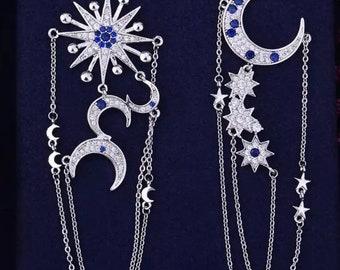 Crystaldust Moon And Stars Chain Earring