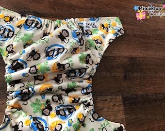 Monkey Jungle Goes Bananas One Size Pocket Cloth Diaper