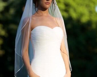 "Fingertip veil with blusher, double tier fingertip veil with 1/8"" corded satin trim, satin cord trim, Bridal veil, ivory veil."