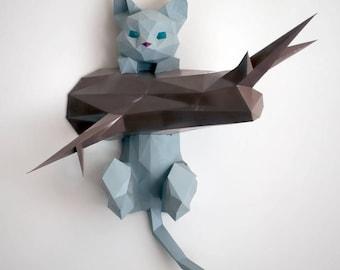 Hanging kitten papercraft | DIY wall mount | 3D papercraft sculpture | Printable PDF pattern | Low poly model cat on a branch