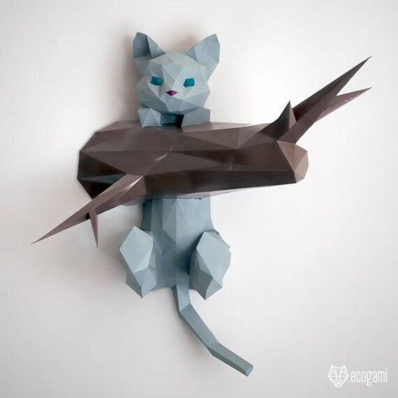 Gatito colgando papercraft bricolaje de casa escultura 3d for Construye tu casa en 3d