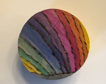 Round hand painted wood box with Rainbowt design