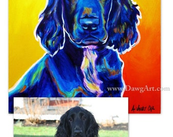 Custom Pet Portrait, 18x18, DawgArt, Dog Art, Pet Portrait, Custom Dog Painting, Custom Cat Painting, Colorful Art, Pet Portrait Artist