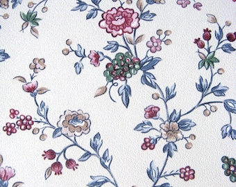Vintage 1990s Gloria Vanderbilt Wallpaper Vinyl Pink Blue Floral Vine Paper