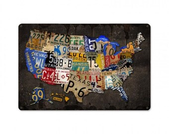 """USA license plate map all 50 states, 18"""" X 12"""" vintage wall art, license plate art, garage decor,"""