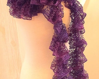 "New Hand Crocheted Ruffled Scarf Extra Long 150"" Lilac Handmade"