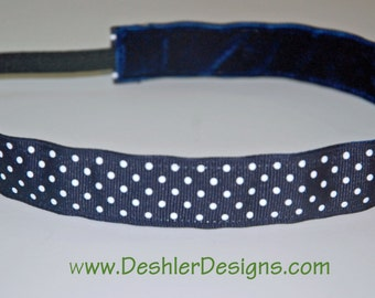 Non-Slip Headband - Navy and White Polka Dots Ribbon - THIN size