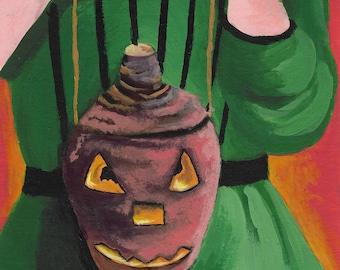 Jack O Lantern Halloween greetings card, art card