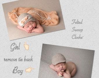 9 month size Felted Swoop Cloche' Hat ~Organic~Cloche~Swoop cloche~ Felt Cloche~ Felt Items~Infant Photo Prop~Newborn Photo Prop~Clo