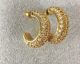 Vintage Swarovski Pierced Earrings Signed SAL