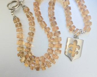 Rondelle Citrine Necklace with Fleur De Lis Pendant